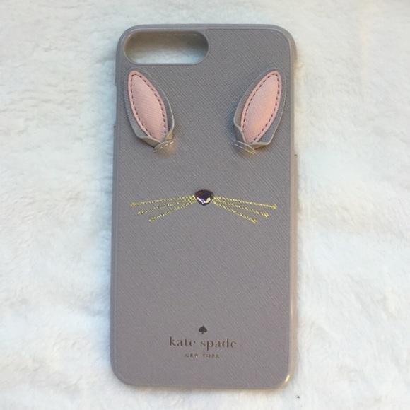 new concept 96fe3 42a78 Kate Spade Gray Bunny Appliqué iPhone PLUS Case Boutique